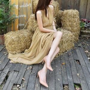 浅口单鞋女2020年新款春天裸色高跟鞋洋气少女细跟尖头OL漆皮鞋子