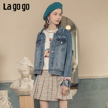 Lagogo flagship store official website new letter square collar button blue denim coat top for women in spring 2020