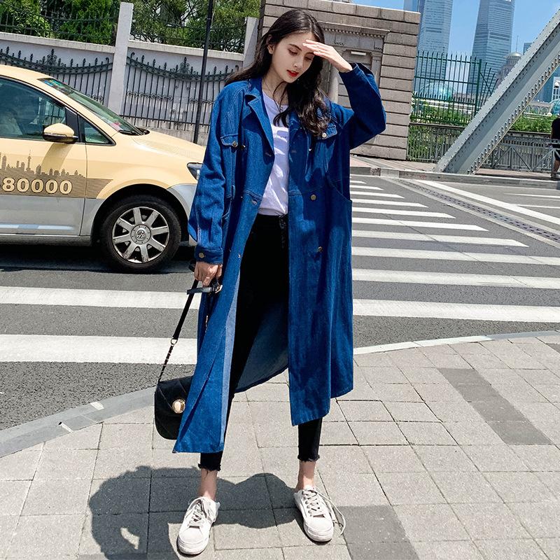 CZS秋装牛仔风衣(送腰带) 2019韩版宽松大码长款女式西装领外套