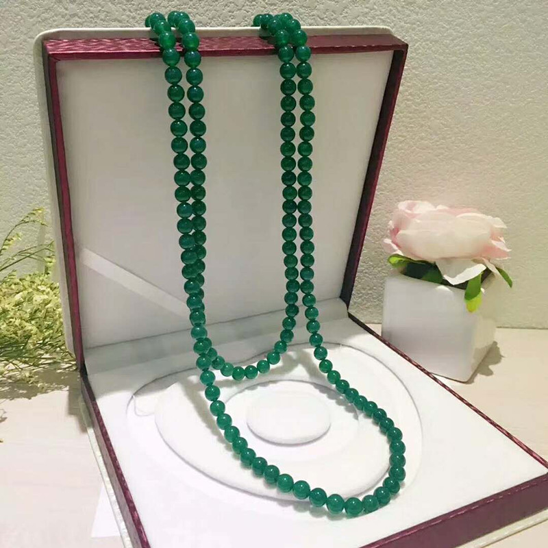 Natural green agate sweater chain female versatile round bead pendant emerald chalcedony gift Long Necklace authentic clavicle