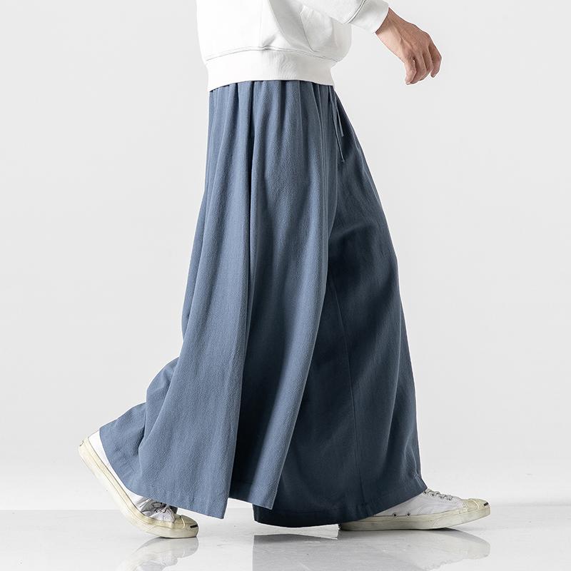 秋冬新 大码中国风棉麻亚麻直筒喇叭裙裤日系阔腿哈伦裤 K82/P75
