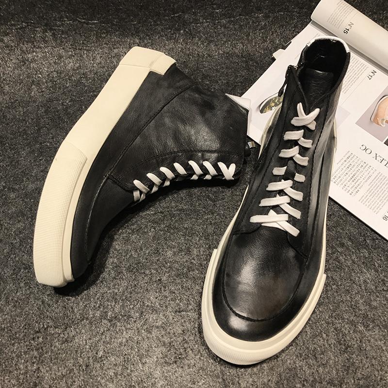 欧洲站潮牌街头高帮板鞋真皮复古个性男鞋做旧牛皮马丁靴皮靴绒