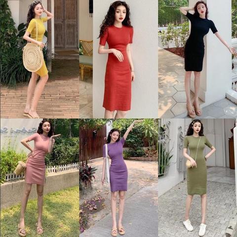 2020春季新款复古修身裙子纯色包臀裙中长款显瘦打底裙连衣裙女装