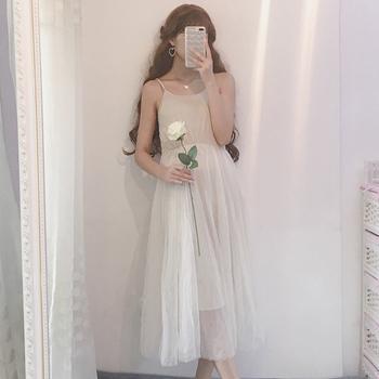 夏装新款2018韩版女装时尚裙子吊带裙学生中长款打底网纱裙连衣裙