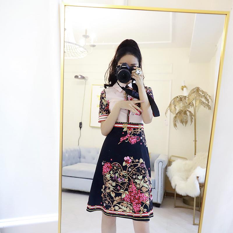 晓茉莉汉服女温柔裙衬衫连衣裙显瘦复古花短袖女2019新款流行裙子(非品牌)