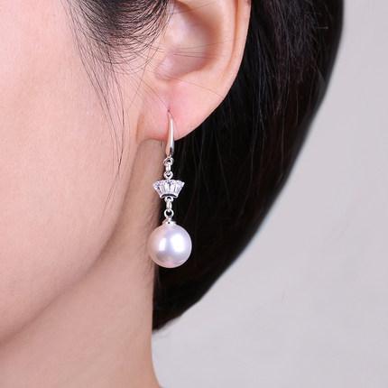 皇冠珍珠韩国925纯银女简约耳环