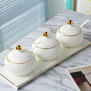 景德镇调味罐创意厨房用品调料盒盐罐欧式陶瓷调味瓶罐三件套装
