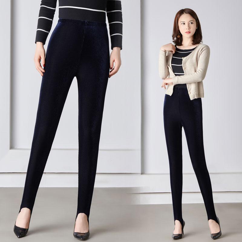 老款条纹金丝绒踩脚健美裤细绒不倒绒高腰弹力女士宽松外穿打底裤