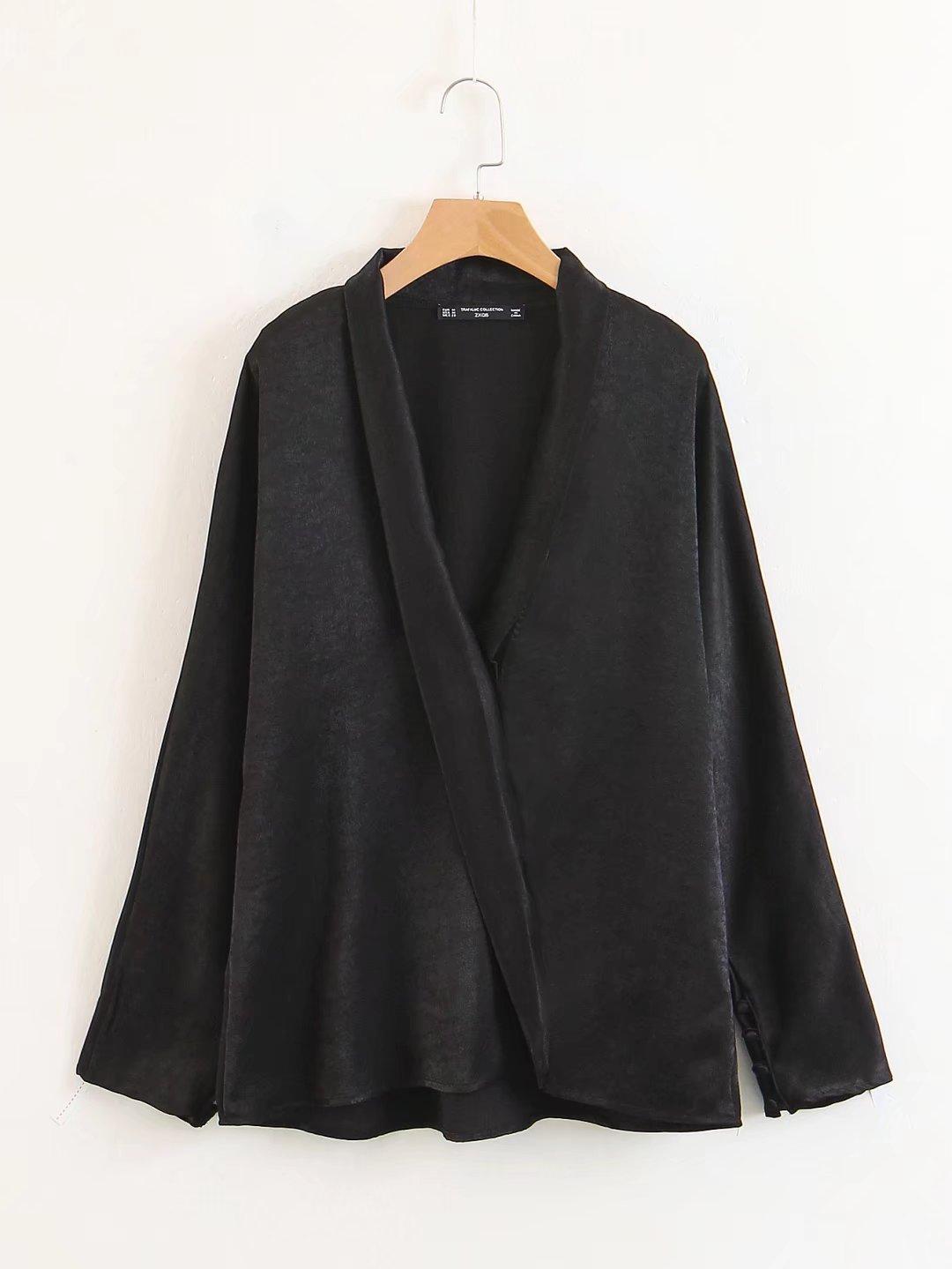 外贸原单大牌出口欧美风剪标真品尾单 新款纯色缎面双襟长袖衬衫