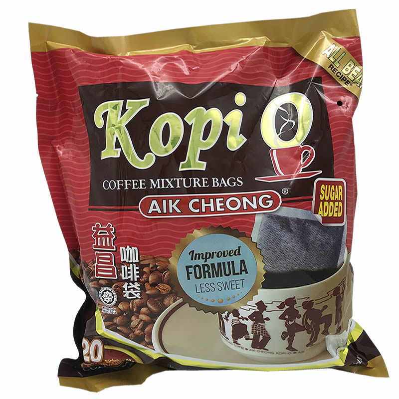 Malaysia Yichang old street pure black coffee black kopi o bag 20 packets of 2 in 1 coffee with sugar and milk free 400g