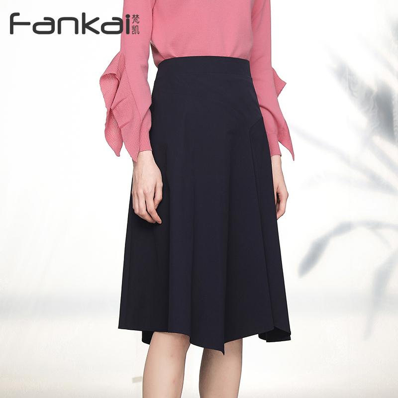 春季新款时尚高腰a字不对称中长款半身裙女配毛衣的裙子女休闲裙