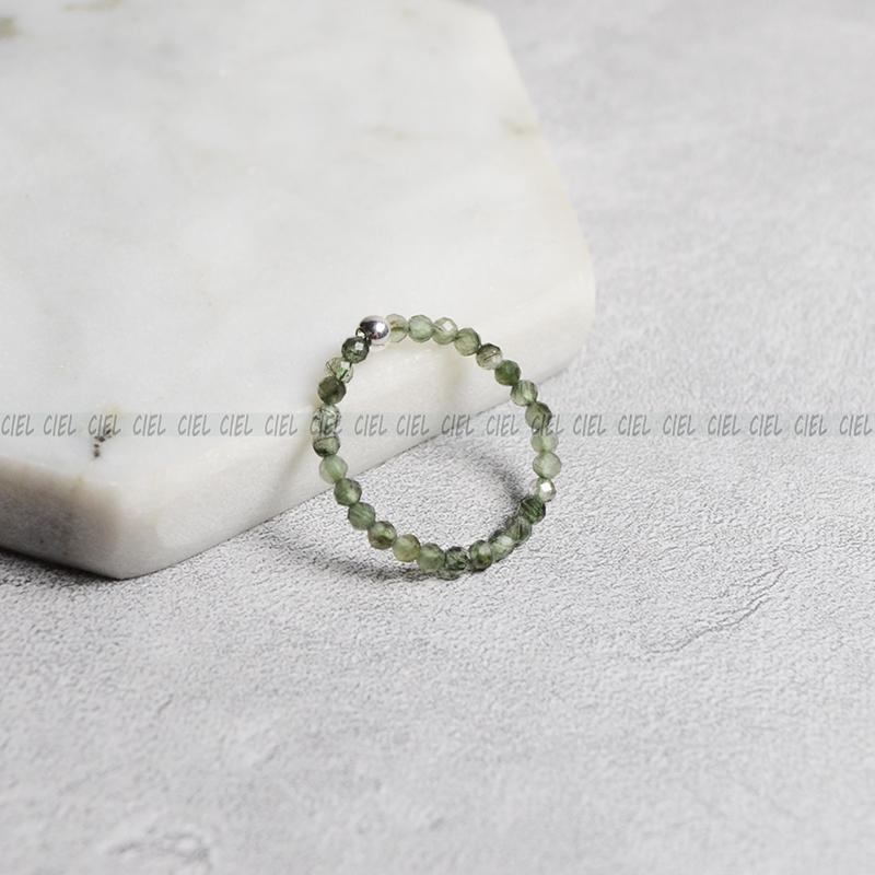 Ciel原创招财天然绿发晶戒指2mm极细迷你切面不规则指环关节尾戒