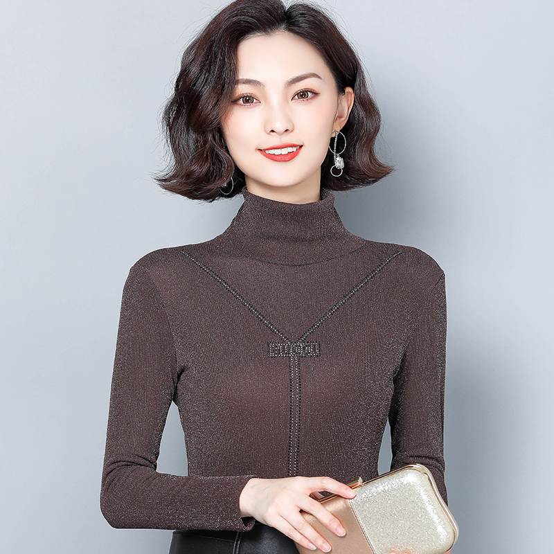 2020秋冬新款加绒蕾丝长袖打底衫