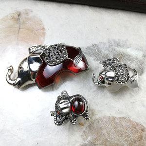 【G配件泰国手工银】银饰品diy手链挂件大象吊坠纯银吉祥小象项链