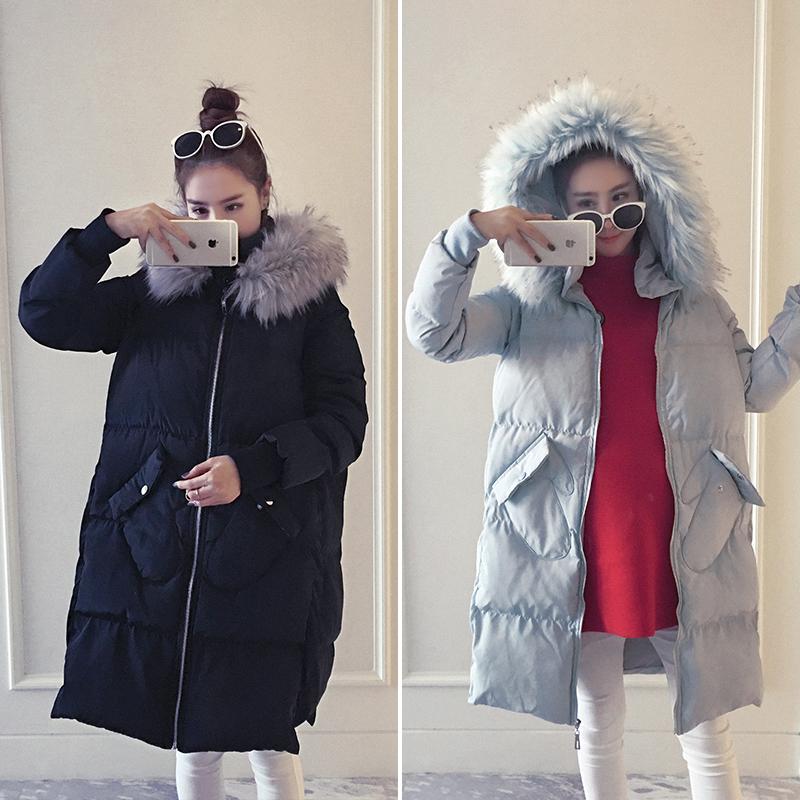 Беременная женщина ватник зима верхушки грудь беременность корейский теплая шерсть воротник закрытый подбитый хлопок пальто беременная женщина наряд зима