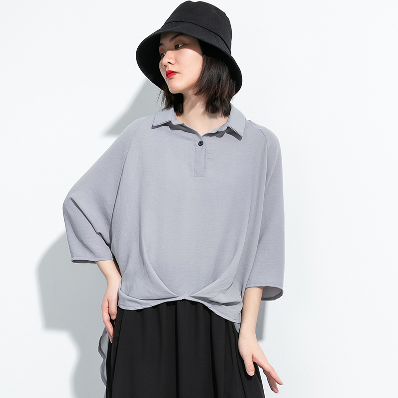 Direct sale 2020 summer new product leisure personality large solid color Pullover mid sleeve shirt irregular top with thin air permeability