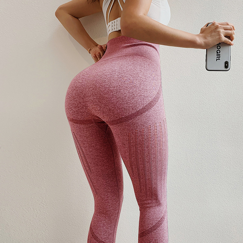 Cross border new European and American peach hip fitness pants womens seamless high waist tight Yoga Pants quick drying breathable sports pants