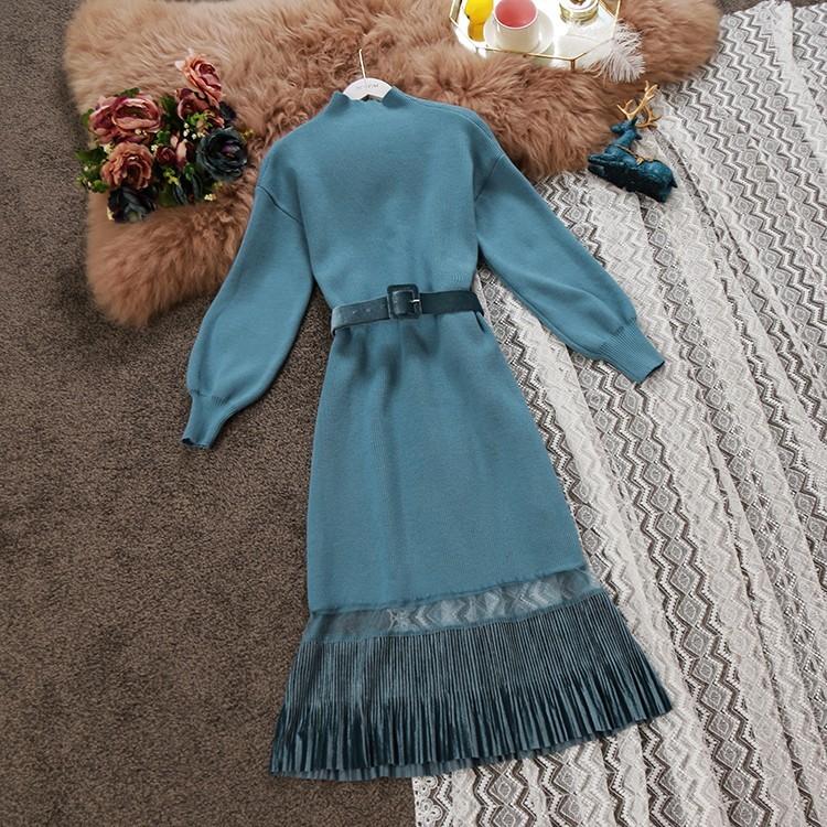 2018秋冬新款女装针织裙腰带收腰中长款长袖气质连衣裙打底裙3610