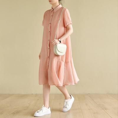 天然出品  休闲文艺桃粉色衬衫领短袖拼接荷花边连衣裙春QA2191