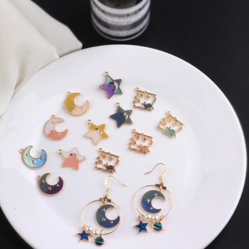 韩国自制diy滴油合金挂件珠光闪粉月亮星星吊坠发饰耳环材料