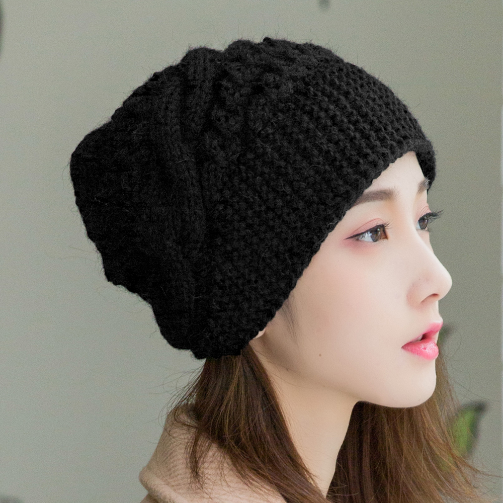 Winter womens hat versatile Wool Hat Womens wool Korean pure hand knitted hat bud hat warm can be customized
