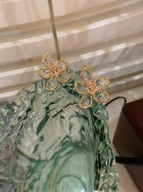 BOONEE高級感復古奢華歐美鍍金清透多切面設計寶石花朵耳釘耳環女圖片