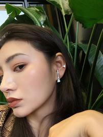BOONEE◆定制简约百搭不对称亮钻弧形耳钉耳环女欧美时尚耳饰图片