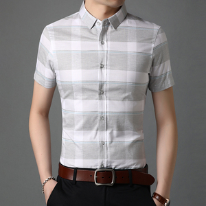 新款花花条子短袖t恤男衬衫格子夏季中青年商务纯棉修身上衣体恤