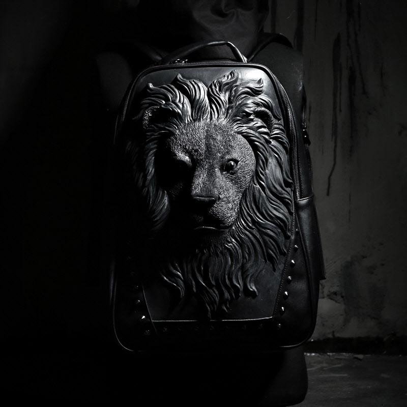 Travel Backpack mens fashion brand rivet backpack fashion trend personality street fashion bag creative lion head schoolbag women