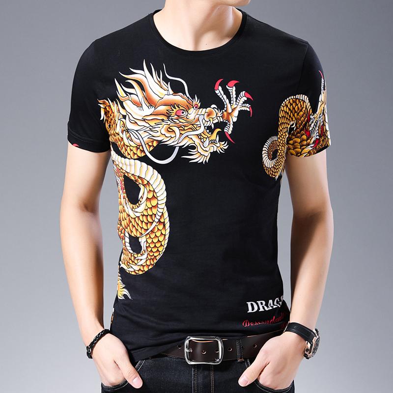 痞子男士夏季时尚花式短袖t恤衫 霸气个性大龙图案印花青年半袖潮