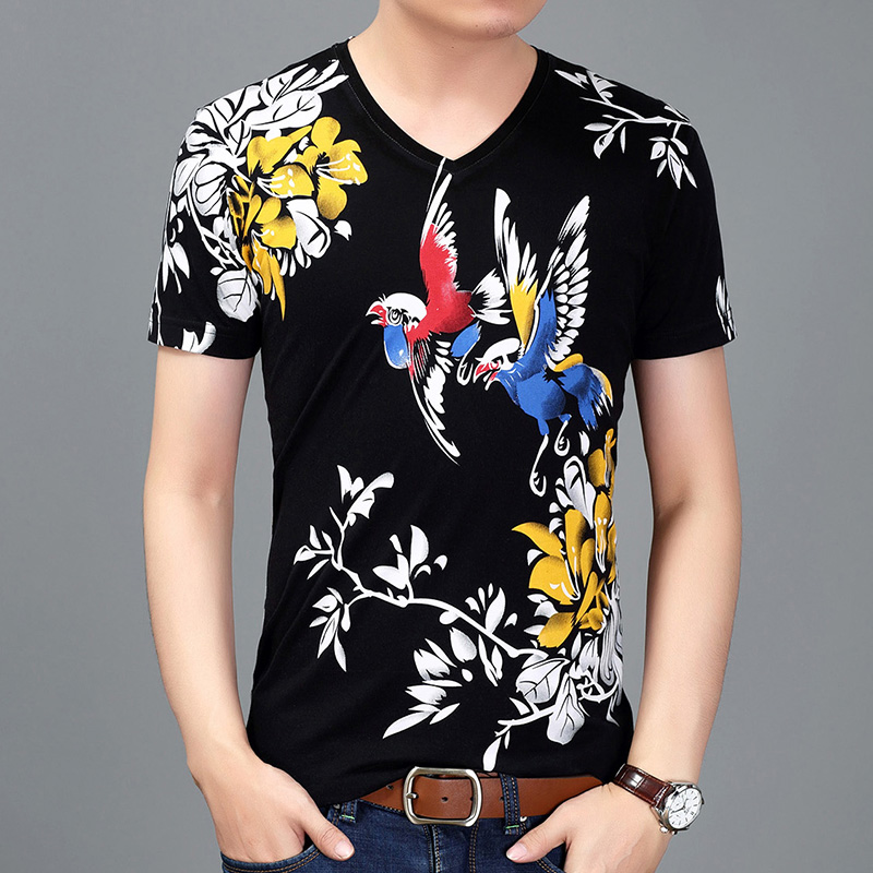 Chinese summer mens fancy short sleeve T-shirt fashion personality ink Bird Print casual half sleeve