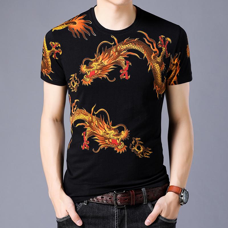 痞子男士夏季时尚龙图案刺青印花短袖t恤衫 个性霸气潮流男装半袖