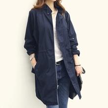 2016春季韩版新款女装 中长款立领抽绳韩版气质显瘦风衣