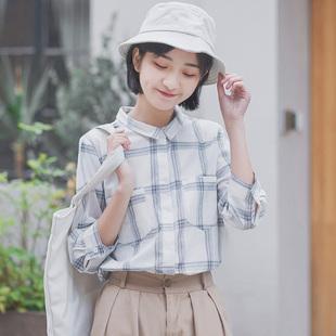 2021春秋新款七分袖格子衬衫女韩版学生宽松百搭很仙的上衣洋气