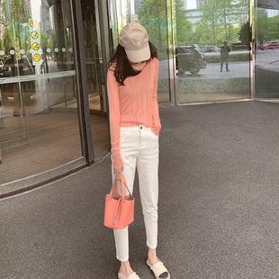 Myra 小馬哥◆升級版筷子褲!白色直筒牛仔褲女2020高腰顯瘦褲子
