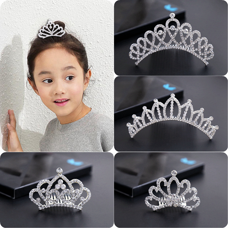 儿童皇冠闪亮水钻插梳影楼婚庆发卡不包邮