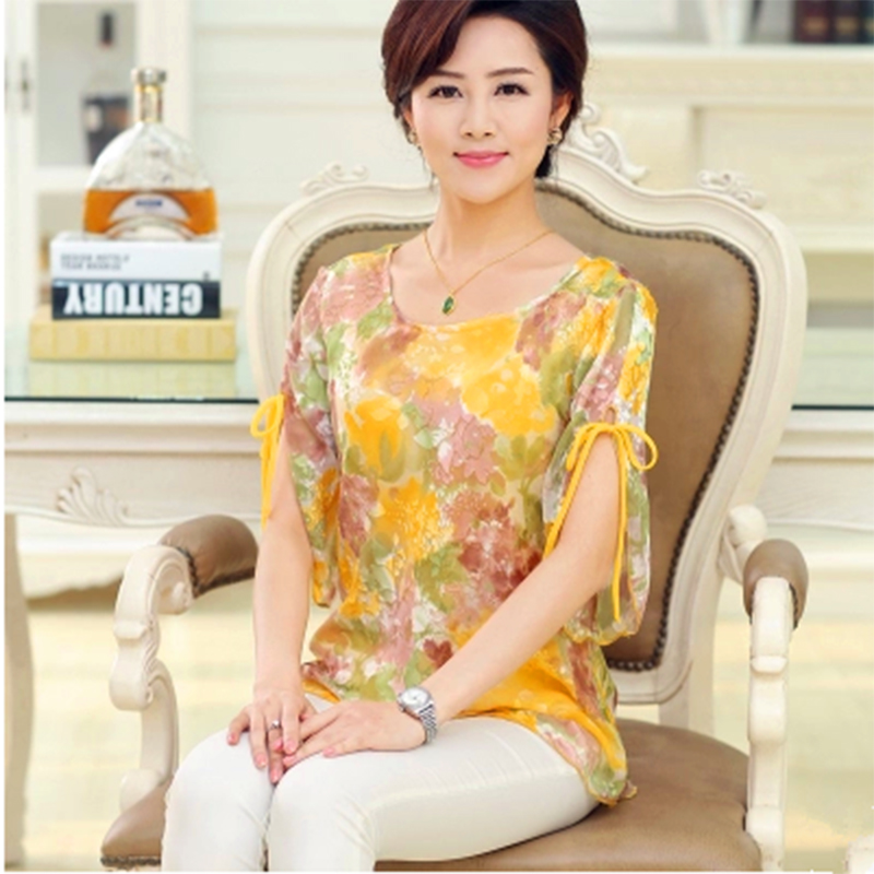 Spring and summer womens silk top chiffon shirt large size middle-aged and old peoples short sleeve mulberry silk casual shirt