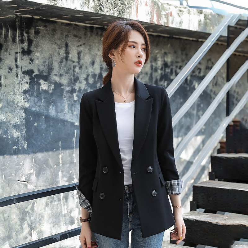 Autumn Korean chic net red and white small suit coat womens New Retro British casual casual casual suit