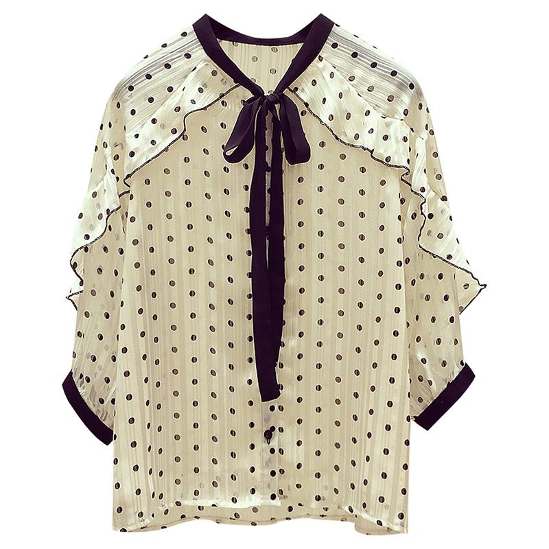 夏装2019新款很仙的雪纺上衣女装显瘦洋气超仙荷叶边黑色波点衬衫