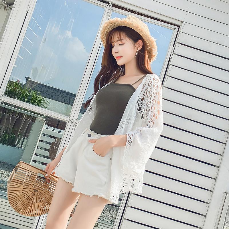 8024实拍 薄款防晒衣开衫镂空蕾丝衫度假沙滩披肩外搭空调衫女