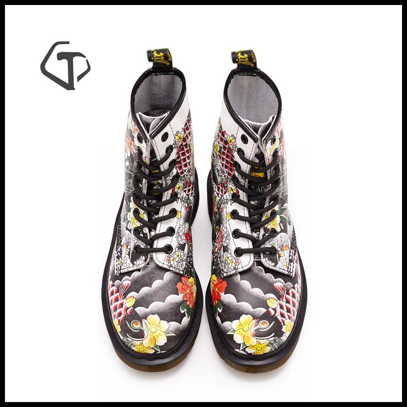 [clearance] Goodyear punk Martin boots 1460 white carp print 8 holes Dr same womens short boots