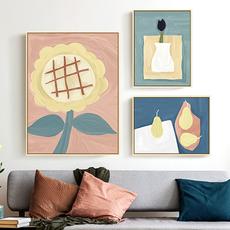 北欧客厅装饰画沙发背景墙卧室床头挂画餐厅壁画小清新向日葵简约