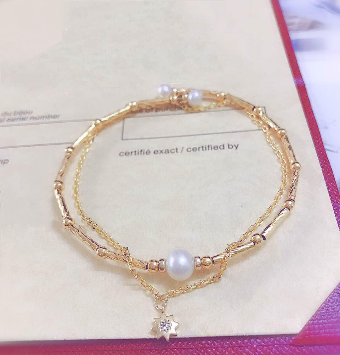 Hanling white soul 14K gilded luluton elastic double-layer Bracelet (14)