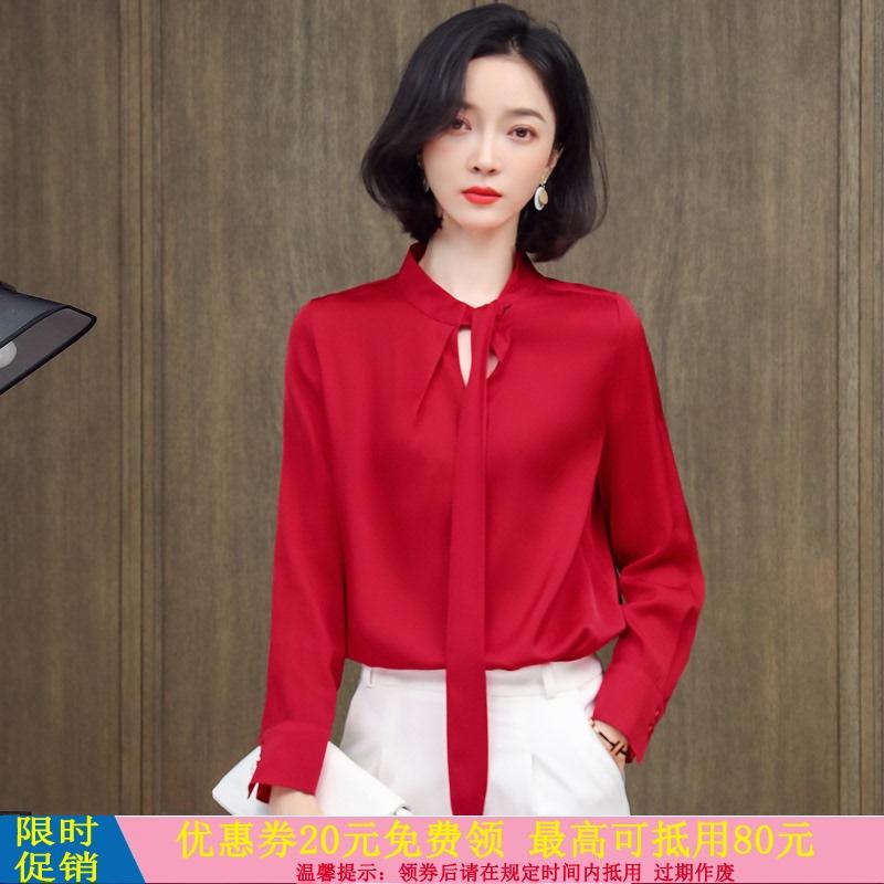时尚缎面飘带镂空领纯色真丝衬衫直筒正宗丝绸通勤杭州桑蚕丝上衣