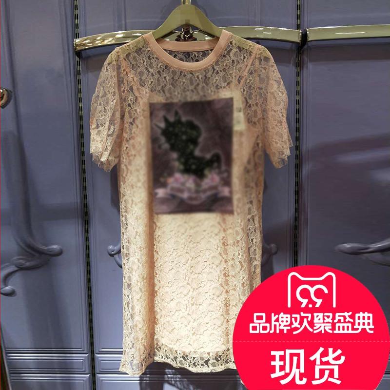 现plus Five GA2018秋女新印花蕾丝圆领两件套连衣裙2GN3080060