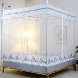蚊帐拉链1.5米1.8m床1.2家用儿童防摔支架蒙古包宫廷公主风纹账