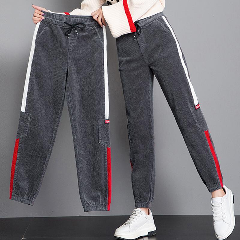 Corduroy pants womens autumn 2021 new velvet bunched leg Korean radish dad casual loose student Sweatpants