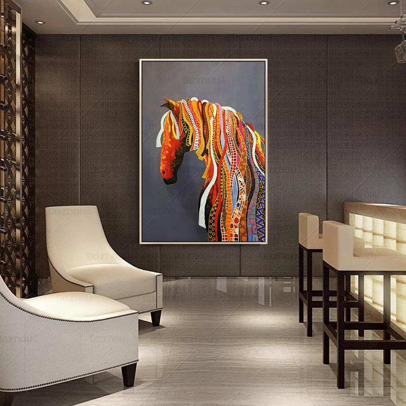 酒店样板房大尺寸竖版手工壁画动物马现代客厅玄关挂画纯手绘油画