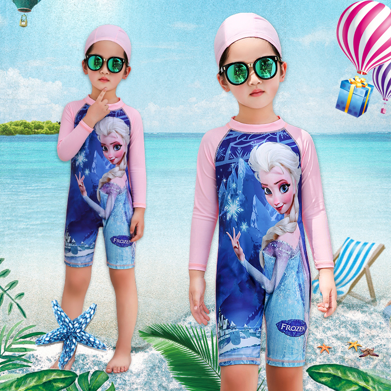 Childrens one-piece swimsuit long sleeve sunscreen quick drying middle and large childrens swimming suit