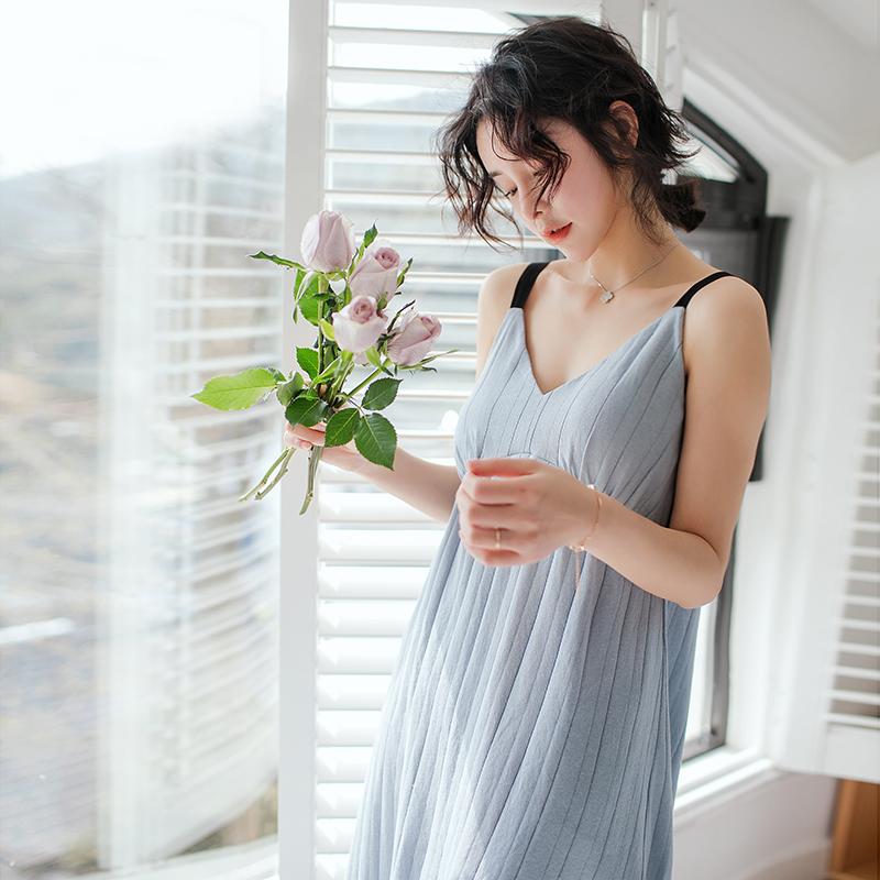 夏季V领带胸垫吊带睡裙女 纯棉蕾丝薄款全棉睡衣性感长款连衣裙